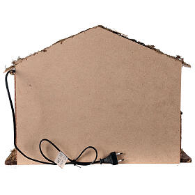 Cabane éclairée 35x50x25 cm crèche nordique 12-14 cm s4