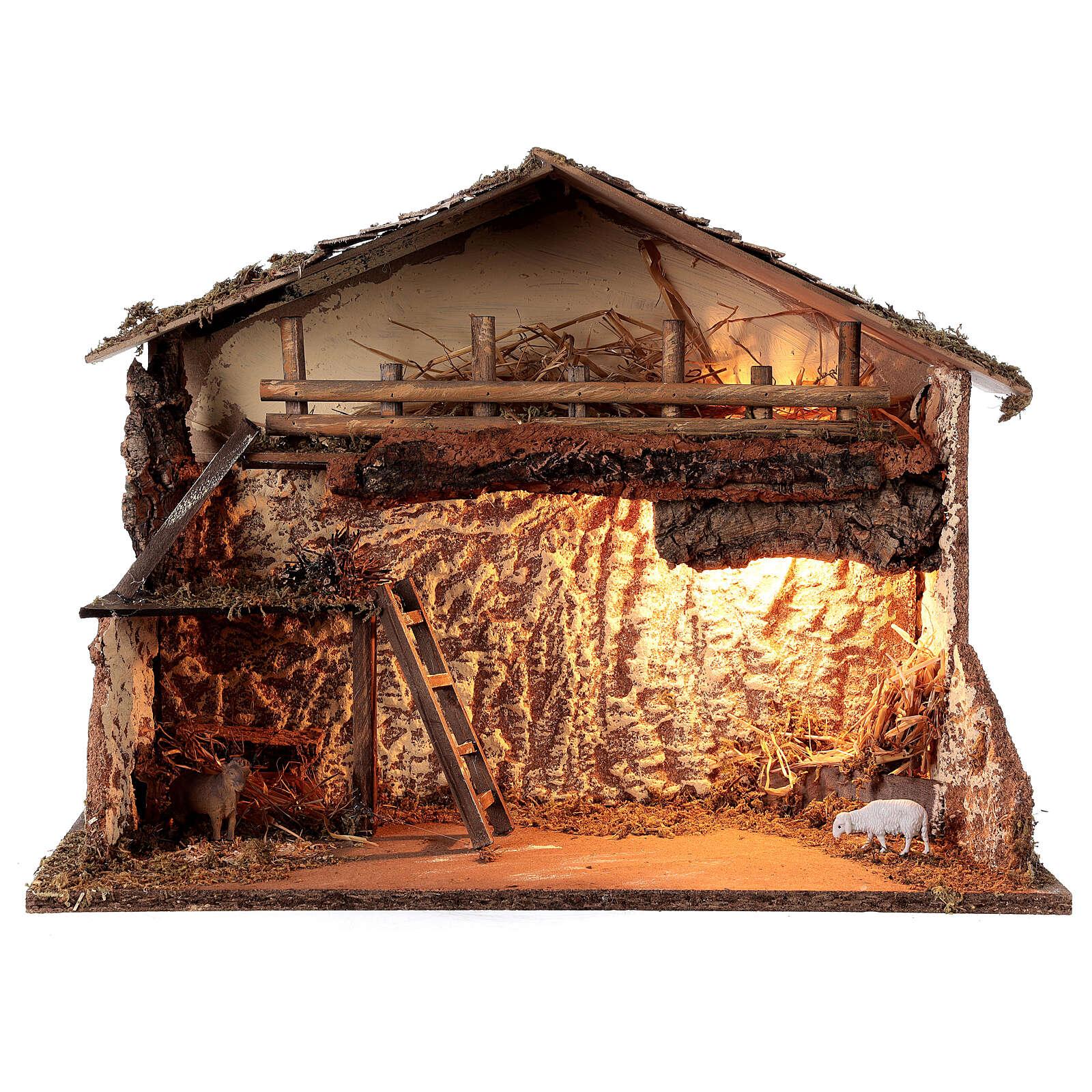 Cabana iluminada estilo nórdico para presépio com figuras altura média 12-14 cm; medidas: 35x50x25 cm 4