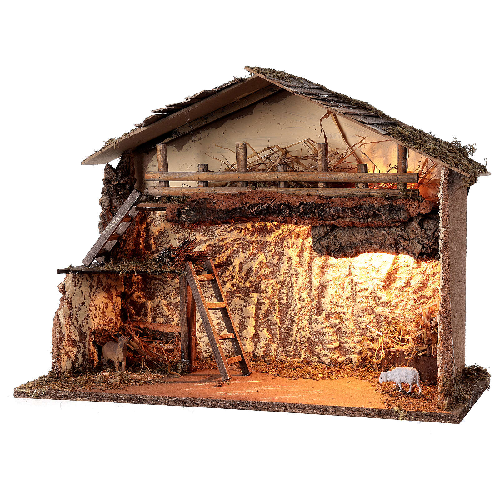 Lighted nativity stable 35x50x25 cm Nordic nativity 12-14 cm 4