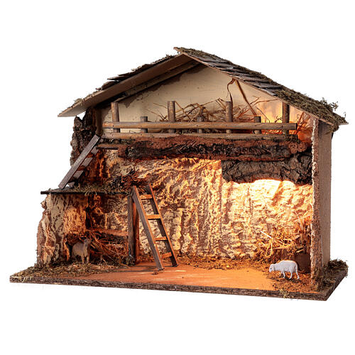 Lighted nativity stable 35x50x25 cm Nordic nativity 12-14 cm 2