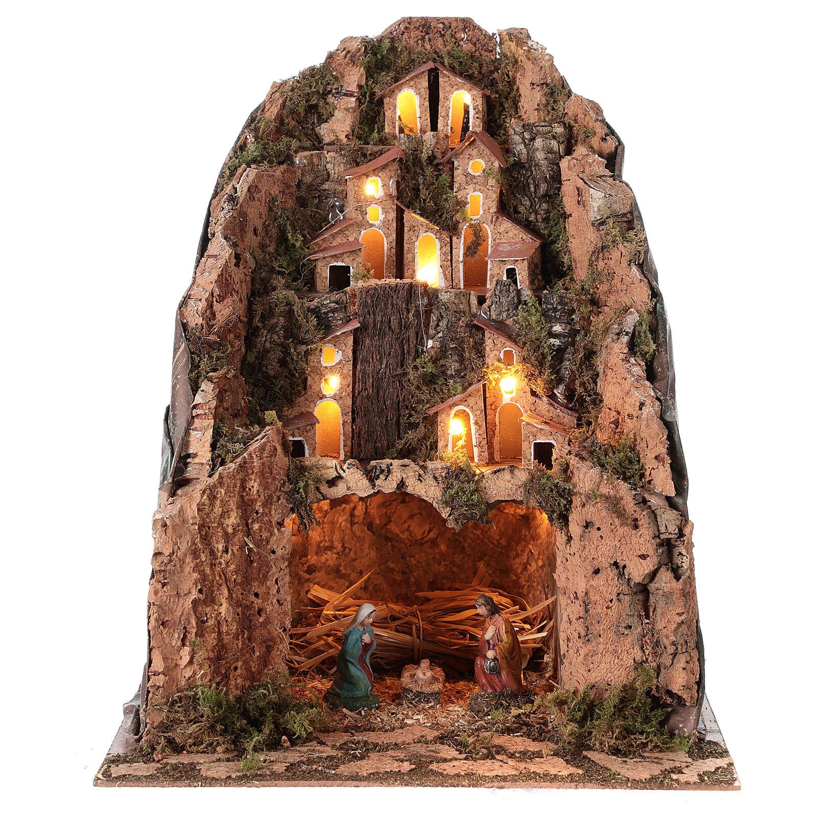 Illuminated village 30x25x25 cm Nativity scene 6 cm 4