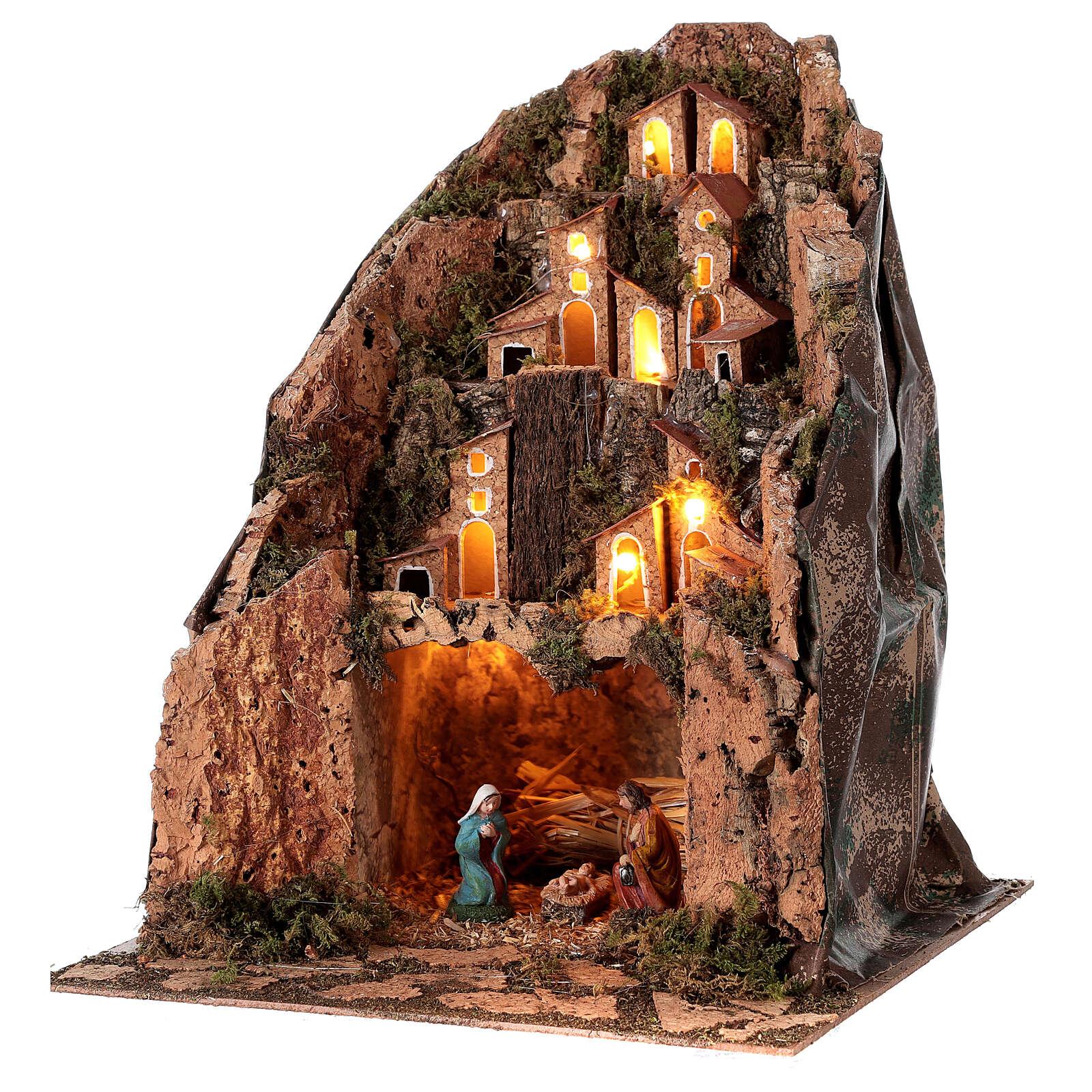 Villaggio con borgo illuminato 30x25x25 cm presepe 6 cm 4