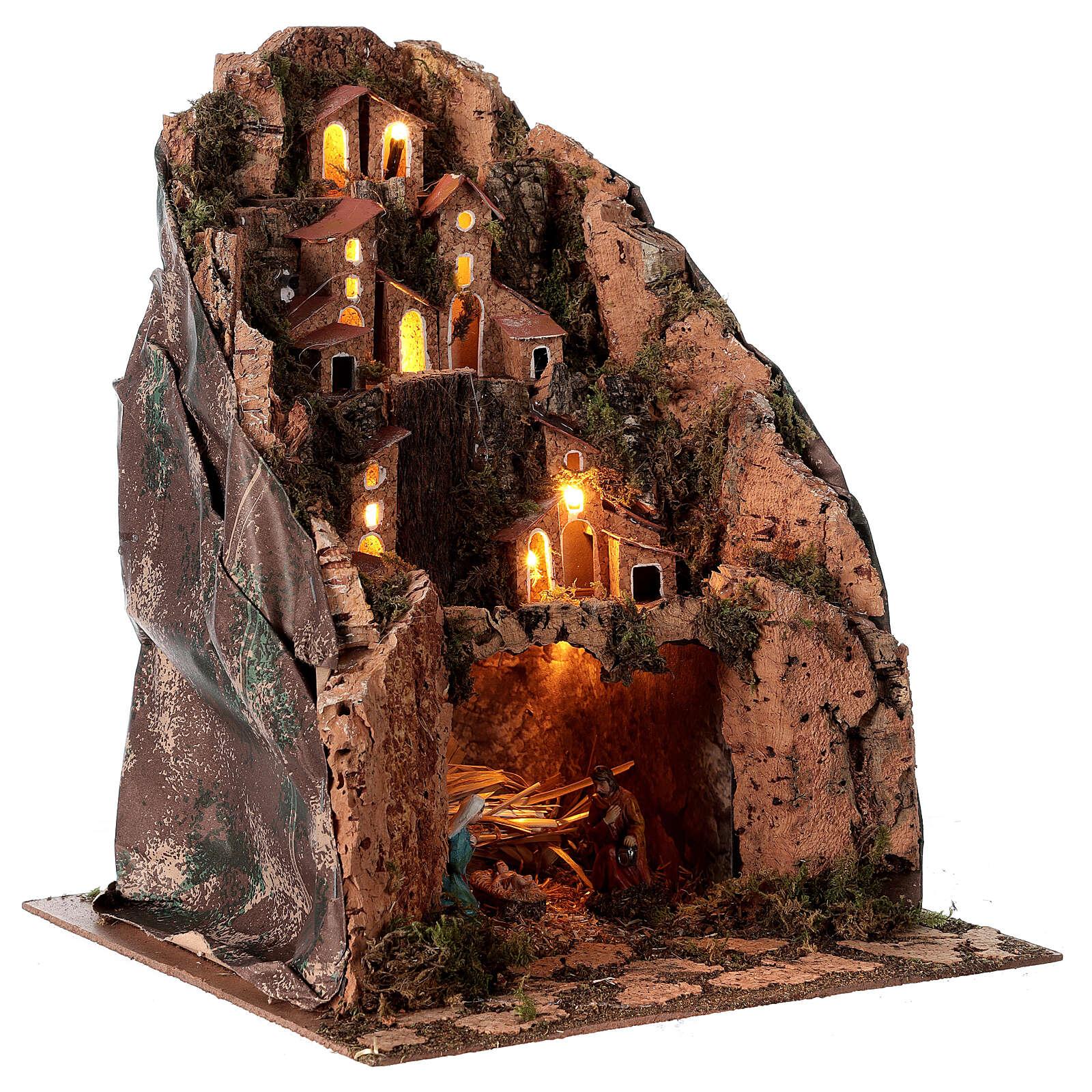 Aldeia de montanha iluminada para presépio com figuras de altura média 6 cm; medidas: 30x25x25 cm 4