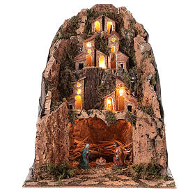 Aldeia de montanha iluminada para presépio com figuras de altura média 6 cm; medidas: 30x25x25 cm s1