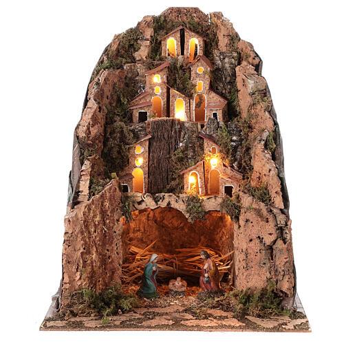 Aldeia de montanha iluminada para presépio com figuras de altura média 6 cm; medidas: 30x25x25 cm 1