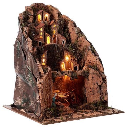 Aldeia de montanha iluminada para presépio com figuras de altura média 6 cm; medidas: 30x25x25 cm 3