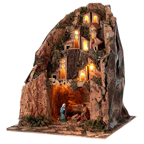 Lighted mountain village lighted 30x25x25 cm 6 cm nativity 2