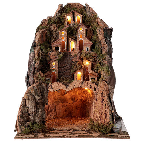Lighted mountain village lighted 30x25x25 cm 6 cm nativity 4