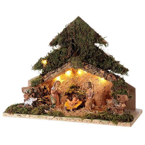 Tree shaped illuminated nativity scene 10 cm 3