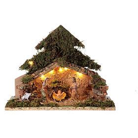 Grotta con natività forma albero illuminata presepe 10 cm s1