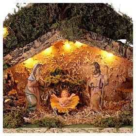 Grotta con natività forma albero illuminata presepe 10 cm s2