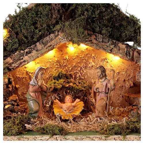 Grotta con natività forma albero illuminata presepe 10 cm 2