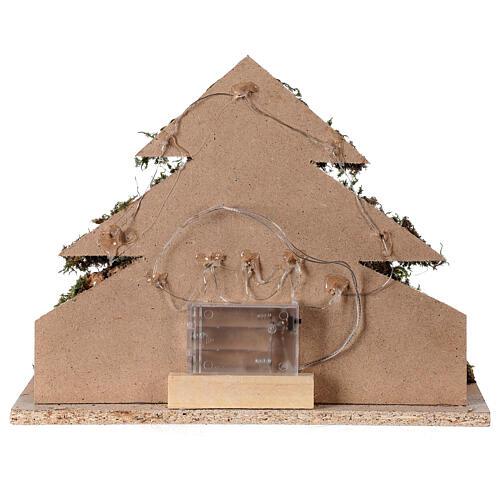 Grotta con natività forma albero illuminata presepe 10 cm 5