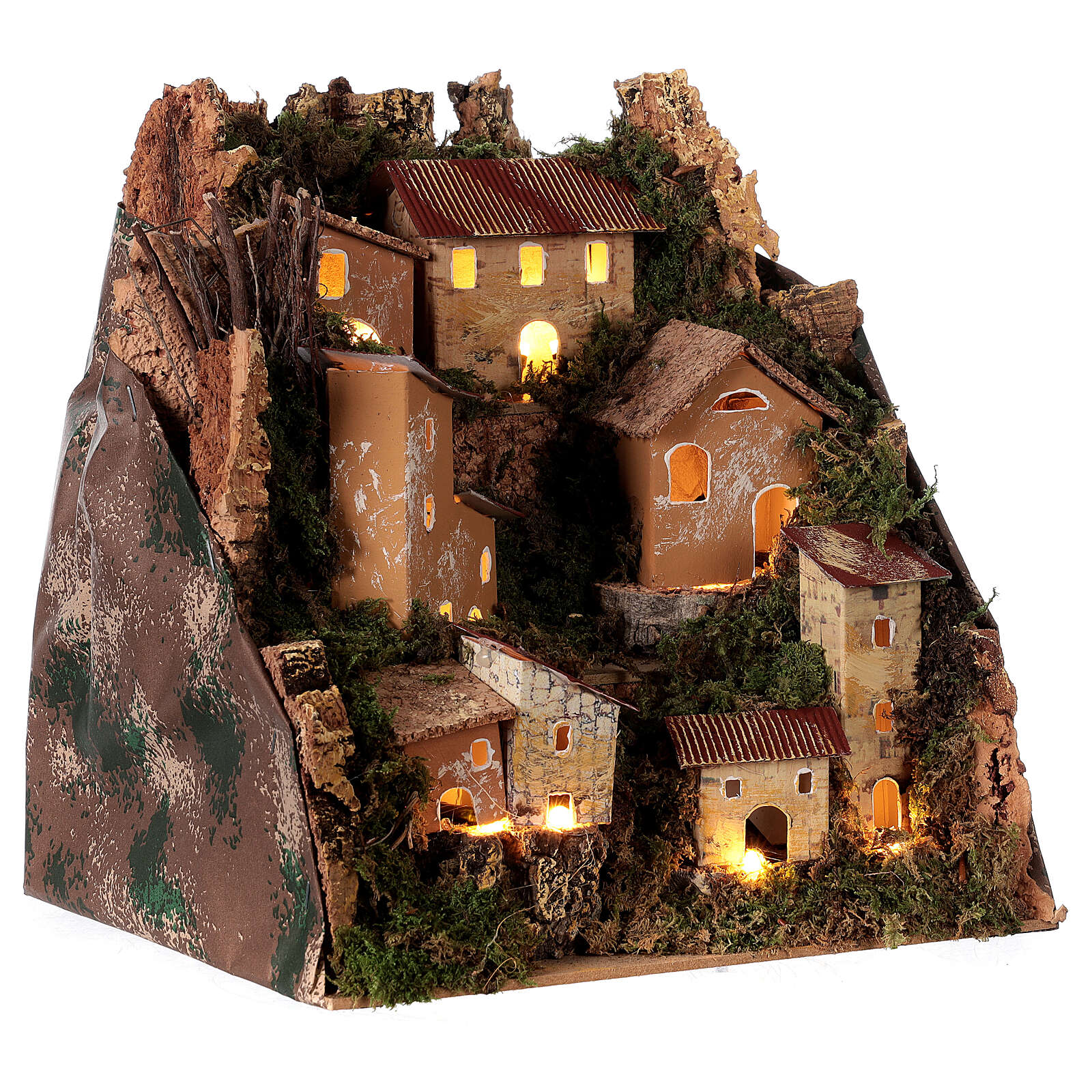 Village de montagne éclairé 25x25x20 cm crèche 6 cm 4