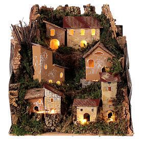 Village de montagne éclairé 25x25x20 cm crèche 6 cm s1