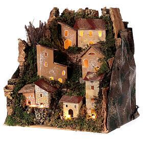Village de montagne éclairé 25x25x20 cm crèche 6 cm s2