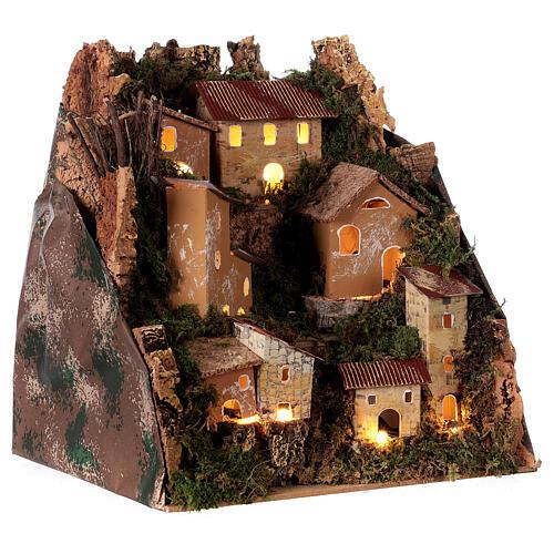 Village de montagne éclairé 25x25x20 cm crèche 6 cm 3