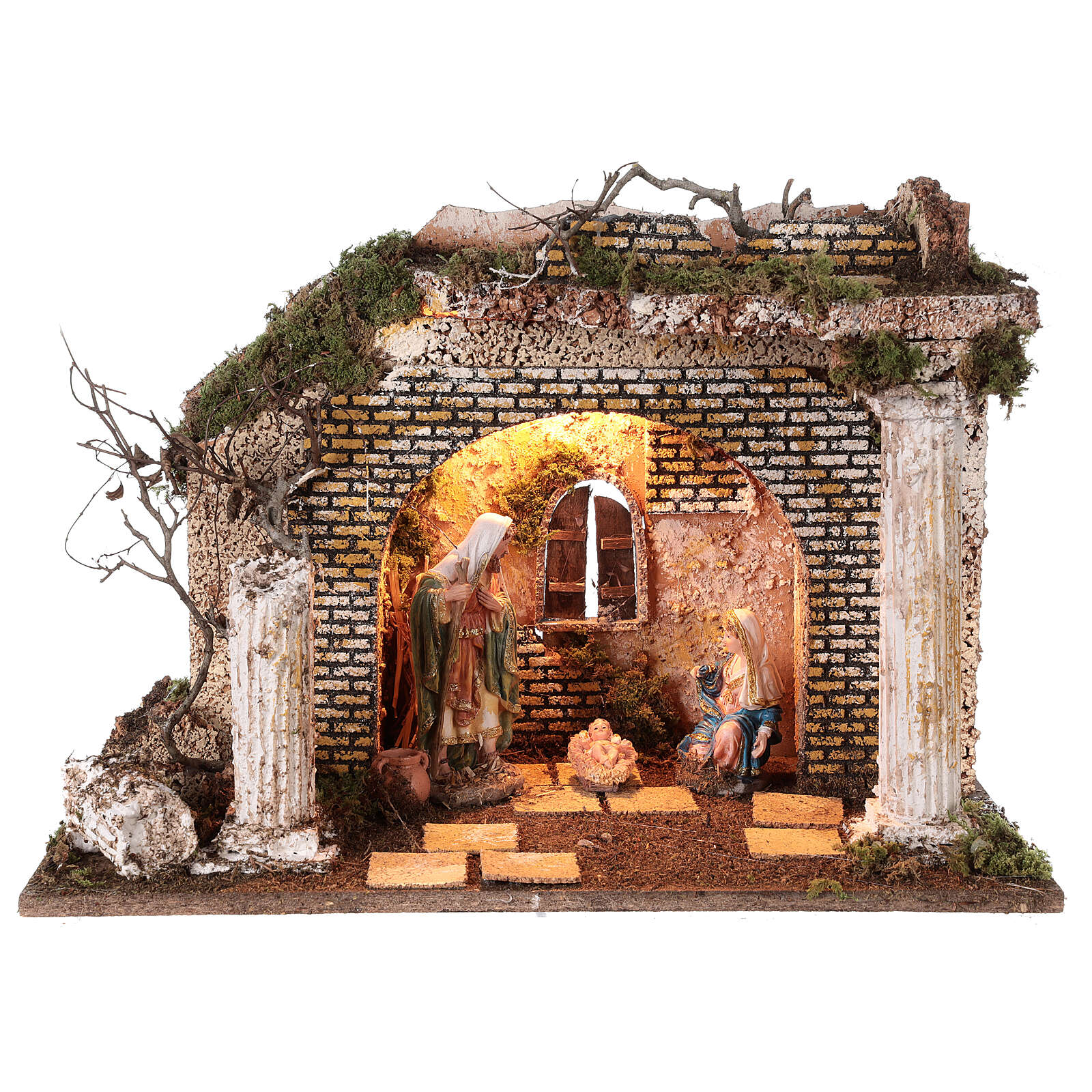 Illuminated Greek temple hut 35x50x25 cm with 16 cm nativity 4
