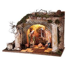 Illuminated Greek temple hut 35x50x25 cm with 16 cm nativity s3