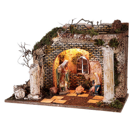 Illuminated Greek temple hut 35x50x25 cm with 16 cm nativity 3