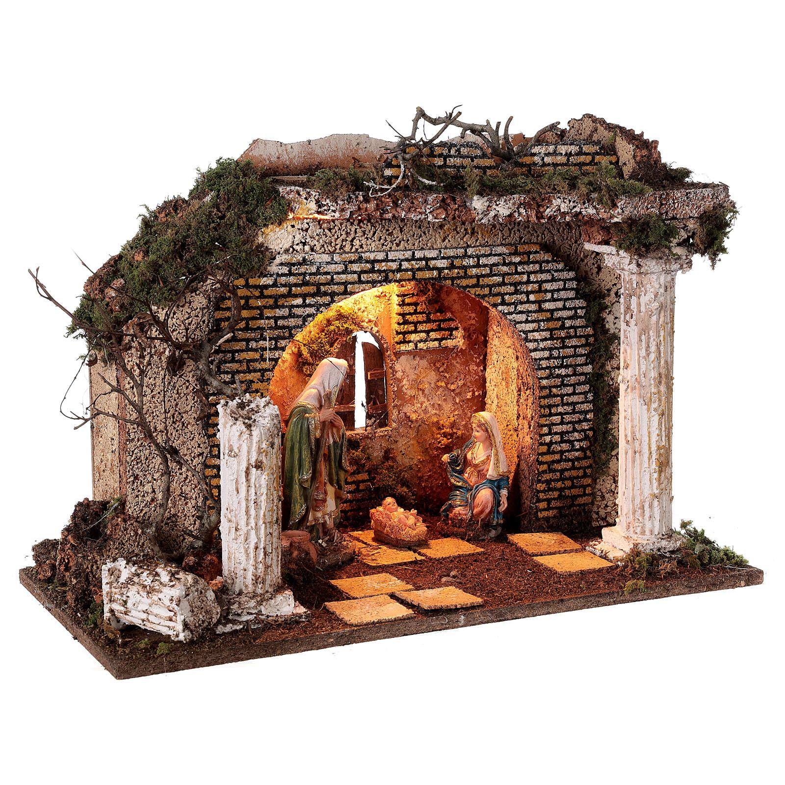 Cabaña templio griego iluminada 35x50x25 cm con natividad 16 cm 4