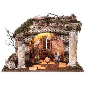 Cabaña templio griego iluminada 35x50x25 cm con natividad 16 cm s1