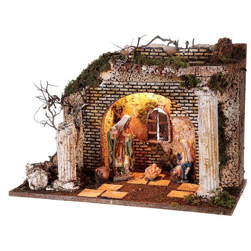 Cabaña templio griego iluminada 35x50x25 cm con natividad 16 cm 3