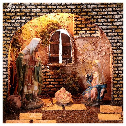 Cabana iluminada Natividade 16 cm com ruínas colunas gregas; medidas: 35x50x25 cm 2