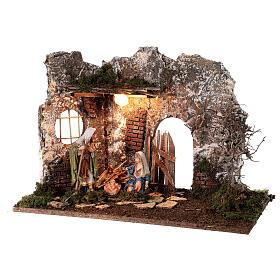 Illuminated cave with wooden door 35x50x25 cm Nativity scens 16 cm s3