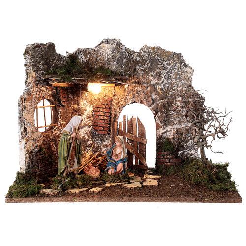Illuminated cave with wooden door 35x50x25 cm Nativity scens 16 cm 1