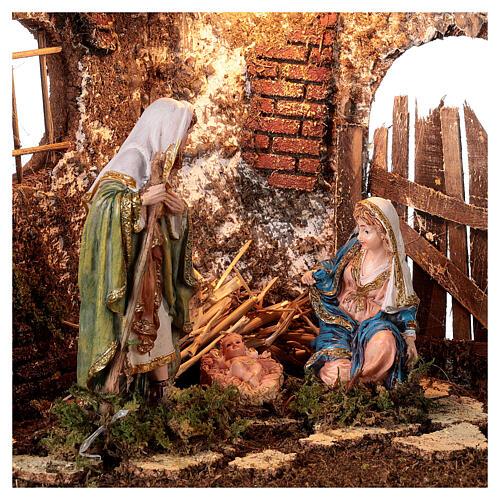 Illuminated cave with wooden door 35x50x25 cm Nativity scens 16 cm 2