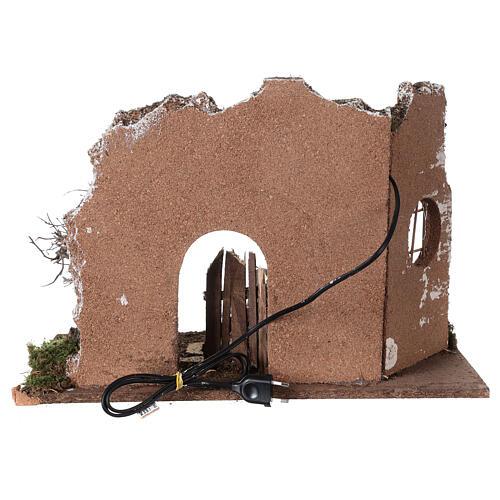 Cueva iluminada puerta de madera 35x50x25 cm belenes 16 cm 5
