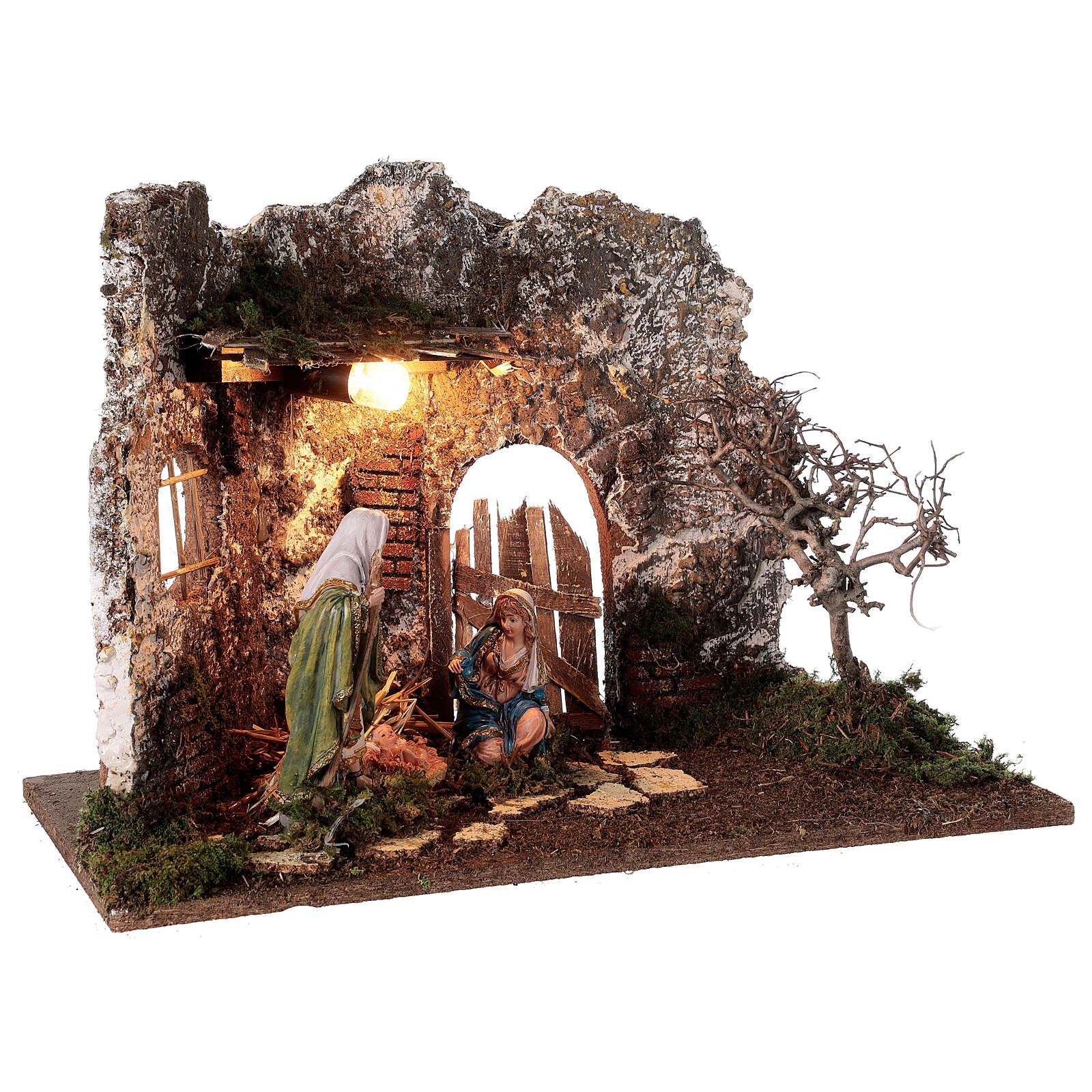 Gruta iluminada porta de madeira Natividade de Jesus altura média 16 cm; medidas: 35x50x25 cm 4
