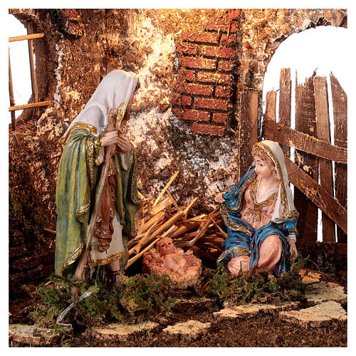 Gruta iluminada porta de madeira Natividade de Jesus altura média 16 cm; medidas: 35x50x25 cm 2