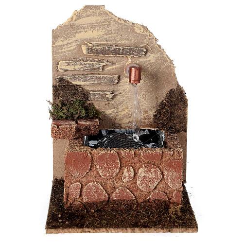 Fontaine avec vasque et pompe à eau 15x10x15 cm crèche 10-12 cm 1