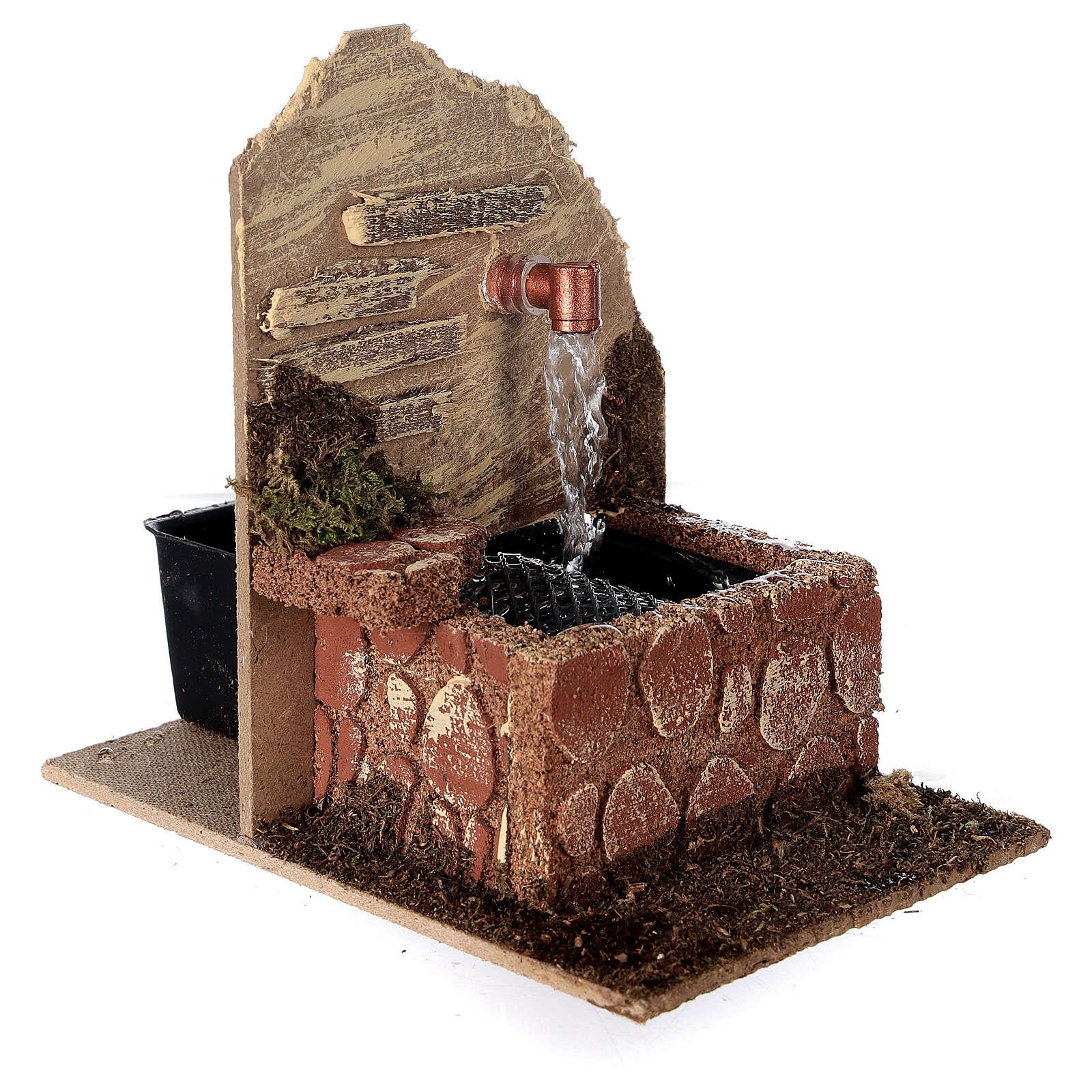 Fontana con vasca con pompa 15x10x15 cm presepe 10-12 cm 4