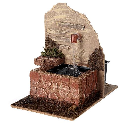 Fontana con vasca con pompa 15x10x15 cm presepe 10-12 cm 2