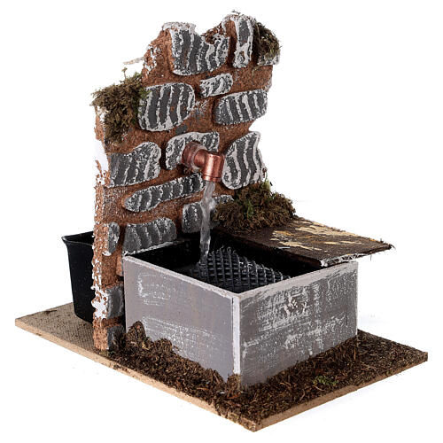 Fontaine avec pompe 15x10x15 cm miniature crèche 10-12 cm 3