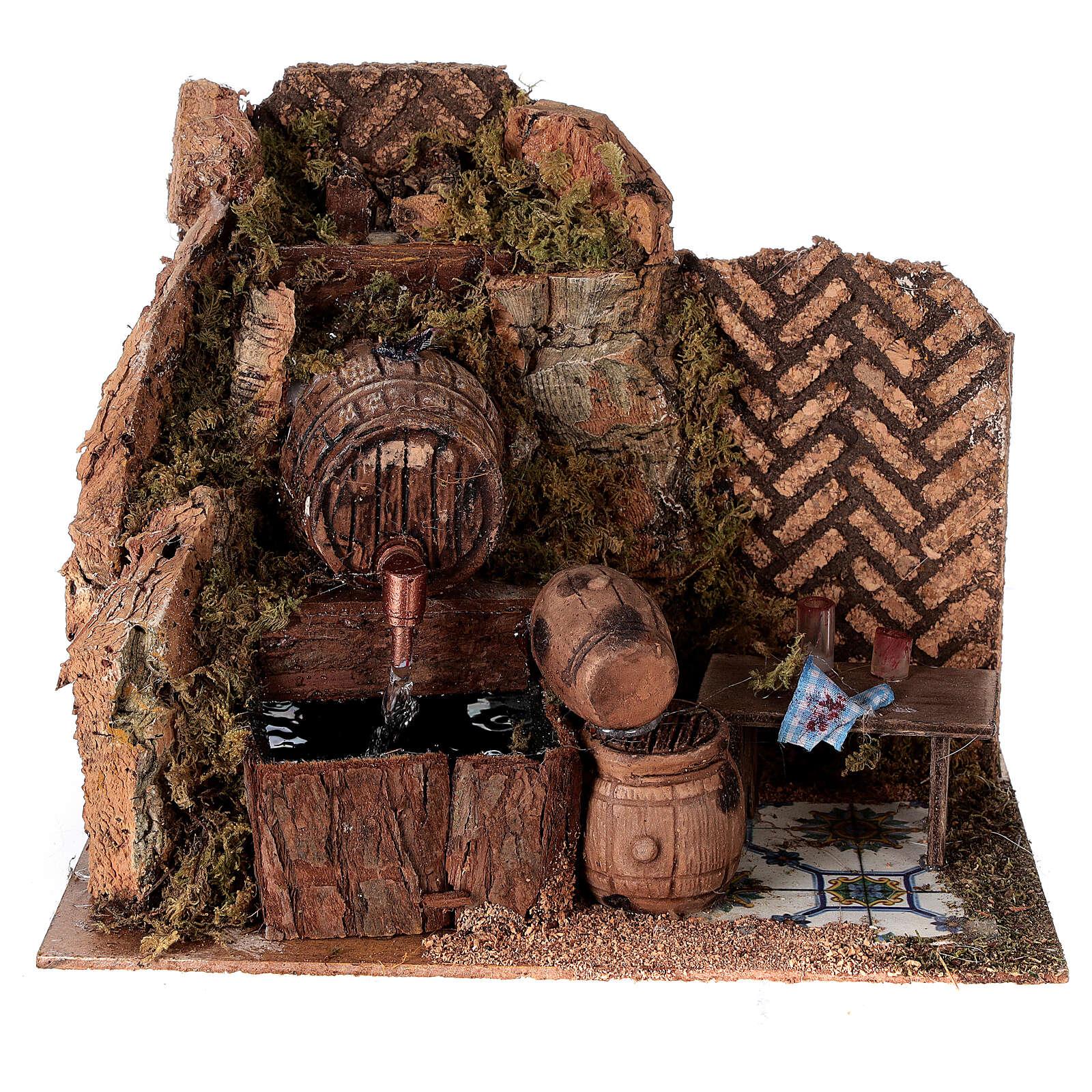 Tavern with 15x20x15 cm pumped barrels with Nativity scene 8-10 cm 4