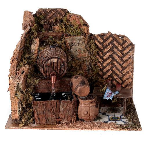 Tavern with 15x20x15 cm pumped barrels with Nativity scene 8-10 cm 1