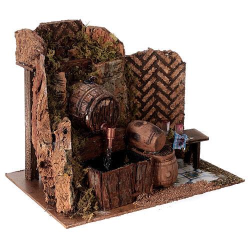 Tavern with 15x20x15 cm pumped barrels with Nativity scene 8-10 cm 3