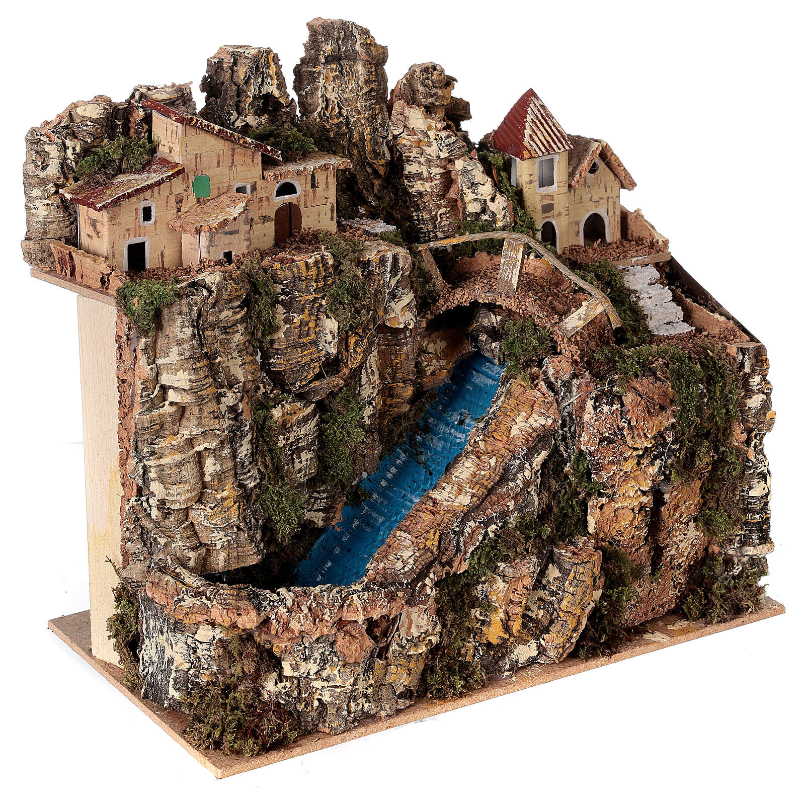 Stream bridge village pump 25x25x15 cm Nativity scene 8-10 cm 4