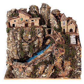 Stream bridge village pump 25x25x15 cm Nativity scene 8-10 cm s1