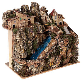 Stream bridge village pump 25x25x15 cm Nativity scene 8-10 cm s4