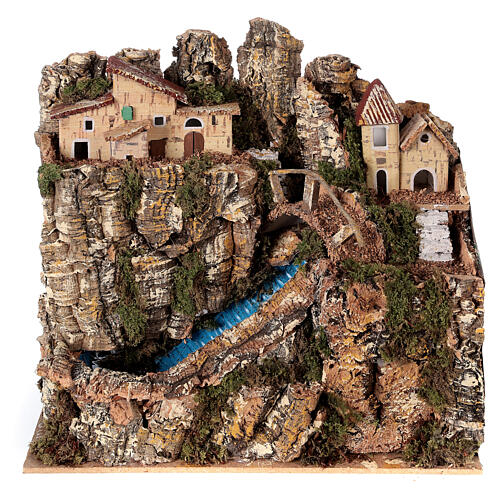 Stream bridge village pump 25x25x15 cm Nativity scene 8-10 cm 1