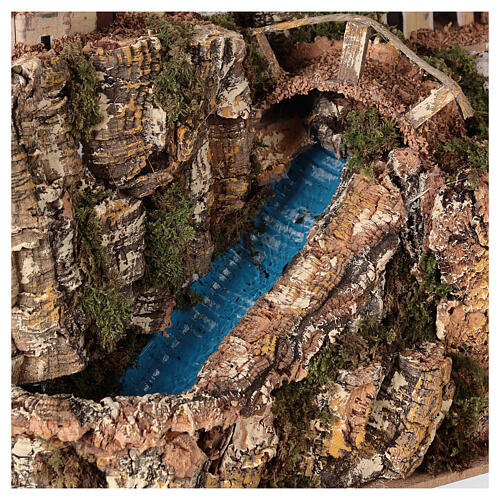 Stream bridge village pump 25x25x15 cm Nativity scene 8-10 cm 2