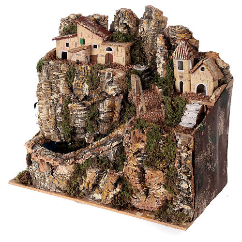 Stream bridge village pump 25x25x15 cm Nativity scene 8-10 cm 3