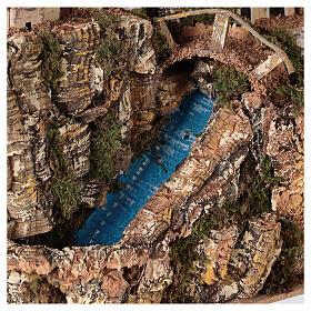 Ruscello ponte villaggio pompa 25x25x15 cm presepe 8-10 cm s2