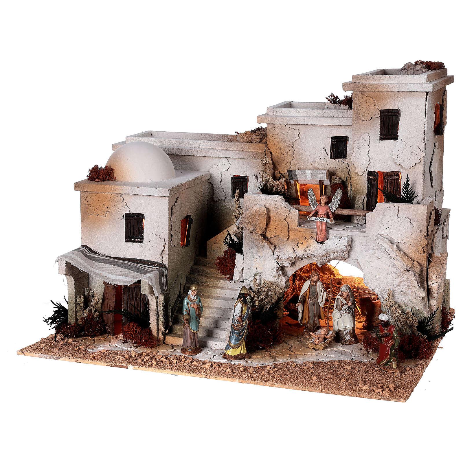 Crèche arabe grotte Nativité santons Moranduzzo 10 cm 35x50x40 cm 4