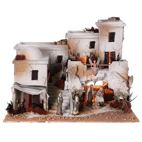 Crèche arabe grotte Nativité santons Moranduzzo 10 cm 35x50x40 cm 1